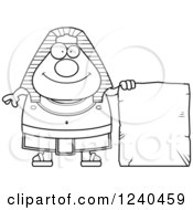 Clipart Of A Black And White Happy Ancient Egyptian Pharaoh With A Tablet Sign Royalty Free Vector Illustration by Cory Thoman