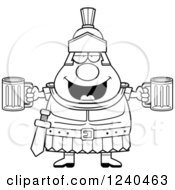 Clipart Of A Black And White Drunk Roman Centurion Holding Beer Royalty Free Vector Illustration by Cory Thoman