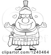 Clipart Of A Black And White Loving Roman Centurion With Open Arms And Hearts Royalty Free Vector Illustration by Cory Thoman