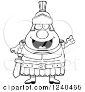 Clipart Of A Black And White Smart Roman Centurion With An Idea Royalty Free Vector Illustration by Cory Thoman