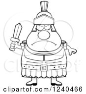Clipart Of A Black And White Tough Roman Centurion Holding A Sword Royalty Free Vector Illustration by Cory Thoman