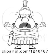 Clipart Of A Black And White Scared Screaming Roman Centurion Royalty Free Vector Illustration by Cory Thoman
