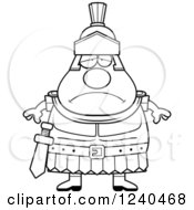 Clipart Of A Black And White Sad Depressed Roman Centurion Royalty Free Vector Illustration by Cory Thoman