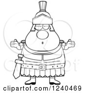 Clipart Of A Black And White Careless Shrugging Roman Centurion Royalty Free Vector Illustration by Cory Thoman