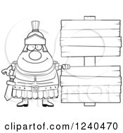 Clipart Of A Black And White Happy Roman Centurion With Wooden Signs Royalty Free Vector Illustration by Cory Thoman