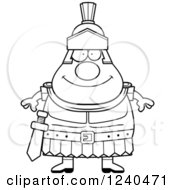 Clipart Of A Black And White Happy Roman Centurion Royalty Free Vector Illustration by Cory Thoman