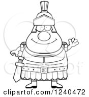 Clipart Of A Black And White Friendly Waving Roman Centurion Royalty Free Vector Illustration by Cory Thoman