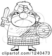 Clipart Of A Black And White Tough Celt Man Ready For Battle Royalty Free Vector Illustration by Cory Thoman