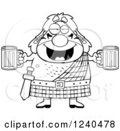 Clipart Of A Black And White Drunk Celt Man Holding Beer Royalty Free Vector Illustration by Cory Thoman