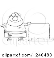 Clipart Of A Black And White Happy Chubby Buddhist Man With A Scroll Sign Royalty Free Vector Illustration