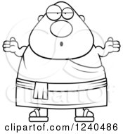Clipart Of A Black And White Careless Shrugging Chubby Buddhist Man Royalty Free Vector Illustration