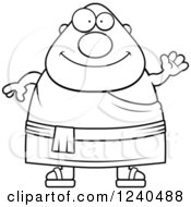 Clipart Of A Black And White Friendly Waving Chubby Buddhist Man Royalty Free Vector Illustration