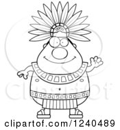Clipart Of A Friendly Waving Aztec Chief King Royalty Free Vector Illustration by Cory Thoman