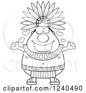 Black And White Loving Aztec Chief King With Open Arms And Hearts