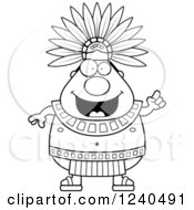 Black And White Smart Aztec Chief King With An Idea