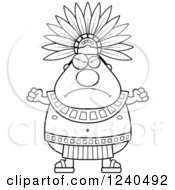Black And White Mad Aztec Chief King Holding Up Fists
