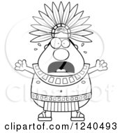 Black And White Scared Screaming Aztec Chief King