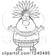 Clipart Of A Careless Shrugging Aztec Chief King Royalty Free Vector Illustration