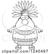Clipart Of A Sad Depressed Aztec Chief King Royalty Free Vector Illustration by Cory Thoman