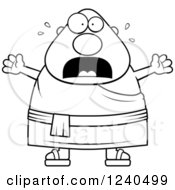 Clipart Of A Black And White Scared Screaming Chubby Buddhist Man Royalty Free Vector Illustration