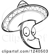 Clipart Of A Black And White Happy Mexican Avocado Slice With A Sombrero Hat Royalty Free Vector Illustration by Cory Thoman