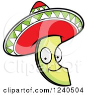 Clipart Of A Happy Mexican Avocado Slice With A Sombrero Hat Royalty Free Vector Illustration
