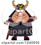 Clipart Of A Friendly Waving Samurai Warrior Royalty Free Vector Illustration by Cory Thoman