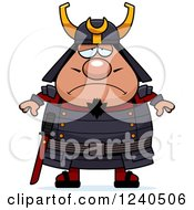 Clipart Of A Sad Depressed Samurai Warrior Royalty Free Vector Illustration by Cory Thoman