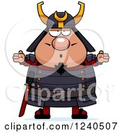 Clipart Of A Careless Shrugging Samurai Warrior Royalty Free Vector Illustration