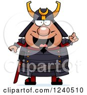 Clipart Of A Smart Samurai Warrior With An Idea Royalty Free Vector Illustration