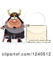 Clipart Of A Happy Samurai Warrior With A Scroll Sign Royalty Free Vector Illustration by Cory Thoman