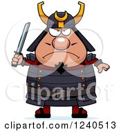 Clipart Of A Tough Samurai Warrior Holding A Sword Royalty Free Vector Illustration by Cory Thoman
