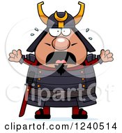 Clipart Of A Scared Screaming Samurai Warrior Royalty Free Vector Illustration by Cory Thoman