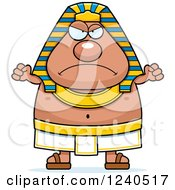 Clipart Of A Mad Ancient Egyptian Pharaoh Holding Up Fists Royalty Free Vector Illustration