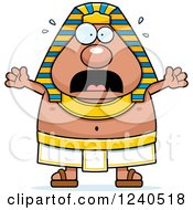 Clipart Of A Scared Screaming Ancient Egyptian Pharaoh Royalty Free Vector Illustration