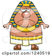 Clipart Of A Sad Depressed Ancient Egyptian Pharaoh Royalty Free Vector Illustration by Cory Thoman