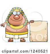 Clipart Of A Happy Ancient Egyptian Pharaoh With A Tablet Sign Royalty Free Vector Illustration