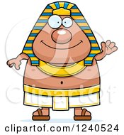 Clipart Of A Friendly Waving Ancient Egyptian Pharaoh Royalty Free Vector Illustration