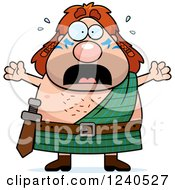 Clipart Of A Scared Screaming Celt Man Royalty Free Vector Illustration