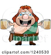 Clipart Of A Drunk Celt Man Holding Beer Royalty Free Vector Illustration by Cory Thoman