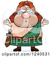 Clipart Of A Careless Shrugging Celt Man Royalty Free Vector Illustration