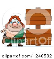 Clipart Of A Happy Celt Man With Wooden Signs Royalty Free Vector Illustration