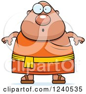 Clipart Of A Surprised Gasping Chubby Buddhist Man Royalty Free Vector Illustration