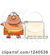 Clipart Of A Happy Chubby Buddhist Man With A Scroll Sign Royalty Free Vector Illustration