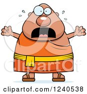 Clipart Of A Scared Screaming Chubby Buddhist Man Royalty Free Vector Illustration