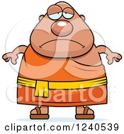 Clipart Of A Sad Depressed Chubby Buddhist Man Royalty Free Vector Illustration
