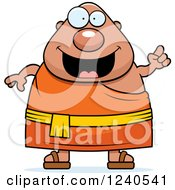 Clipart Of A Smart Chubby Buddhist Man With An Idea Royalty Free Vector Illustration
