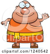 Clipart Of A Friendly Waving Chubby Buddhist Man Royalty Free Vector Illustration