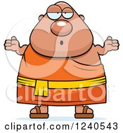 Clipart Of A Careless Shrugging Chubby Buddhist Man Royalty Free Vector Illustration