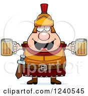 Clipart Of A Drunk Roman Centurion Holding Beer Royalty Free Vector Illustration by Cory Thoman